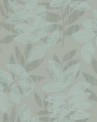 Chimera Turquoise Flocked Leaf Wallpaper by