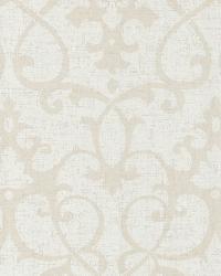 Octavia Beige Damask Swirl by  Brewster Wallcovering