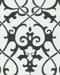 Octavia White Damask Swirl by  Brewster Wallcovering