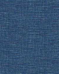Exhale Dark Blue Faux Grasscloth Wallpaper by