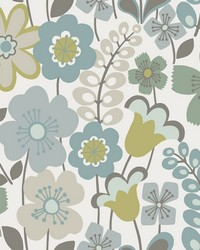 Piper Green Floral Wallpaper by