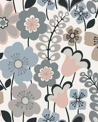 Piper Light Blue Floral Wallpaper by
