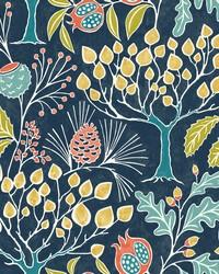 Shiloh Navy Botanical Wallpaper by
