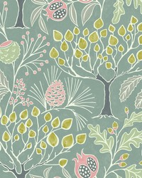 Shiloh Green Botanical Wallpaper by