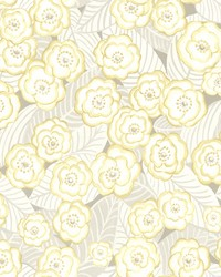 Emery Light Yellow Floral Wallpaper by