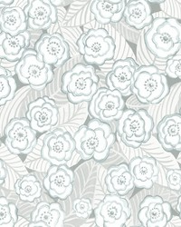 Emery Light Blue Floral Wallpaper by