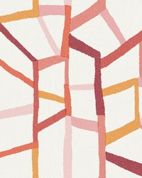 Tate Pink Geometric Linen Wallpaper by