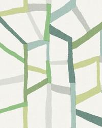 Tate Green Geometric Linen Wallpaper by