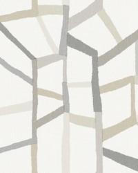 Tate Grey Geometric Linen Wallpaper by