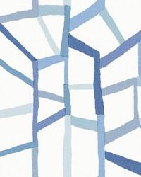 Tate Blue Geometric Linen Wallpaper by