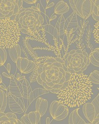 Alannah Taupe Botanical Wallpaper by