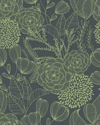 Alannah Green Botanical Wallpaper by