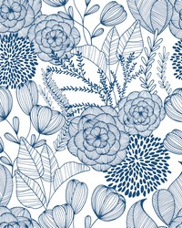 Alannah Navy Botanical Wallpaper by