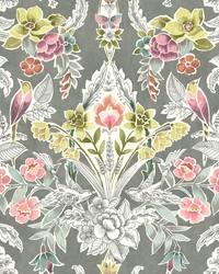 Vera Multicolor Floral Damask Wallpaper by