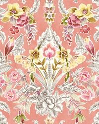 Vera Pink Floral Damask Wallpaper by