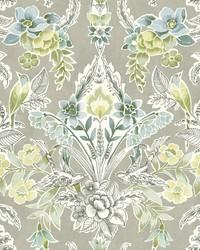 Vera Light Green Floral Damask Wallpaper by