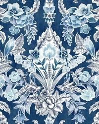 Vera Blue Floral Damask Wallpaper by