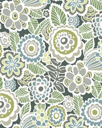 Lucy Green Floral Wallpaper by