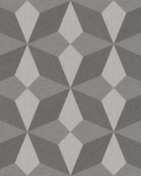 Valiant Grey Faux Grasscloth Geometric Wallpaper by