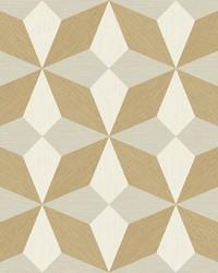 Valiant Beige Faux Grasscloth Geometric Wallpaper by