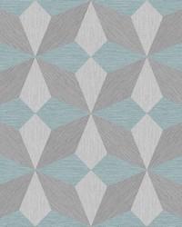 Valiant Aqua Faux Grasscloth Geometric Wallpaper by