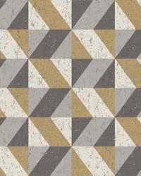 Cerium Metallic Concrete Geometric Wallpaper by