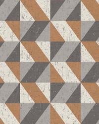 Cerium Copper Concrete Geometric Wallpaper by