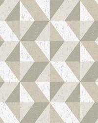 Cerium Neutral Concrete Geometric Wallpaper by