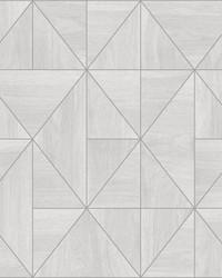 Cheverny Light Grey Geometric Wood Wallpaper by