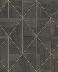 Cheverny Dark Brown Geometric Wood Wallpaper by