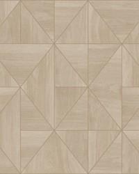 Cheverny Beige Geometric Wood Wallpaper by