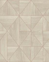 Cheverny Cream Geometric Wood Wallpaper by