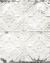 Donahue White Tin Ceiling Wallpaper by