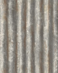 Kirkland Charcoal Corrugated Metal Wallpaper by