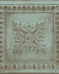 Hillman Turquoise Ornamental Tin Tile Wallpaper by