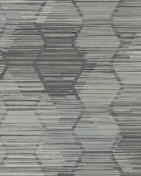Jabari Charcoal Geometric Faux Grasscloth Wallpaper by