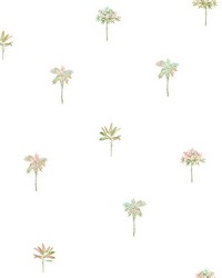 Palmetto Pink Leaves Wallpaper by