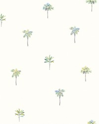 Palmetto Teal Leaves Wallpaper by