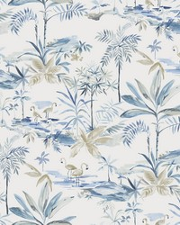 Lagoon Blue Watercolor Wallpaper by  Brewster Wallcovering