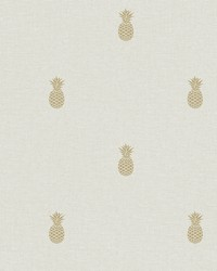 Southern Charm Beige Pineapple Wallpaper by
