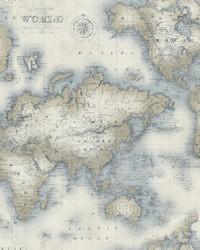 Mercator Cream World Map Wallpaper by