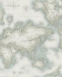 Mercator Aqua World Map Wallpaper by