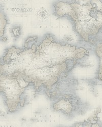 Mercator Blue World Map Wallpaper by