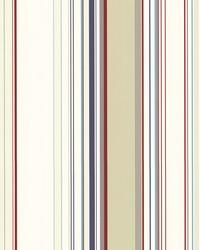 Cape Elizabeth Red Stripe Wallpaper by  Brewster Wallcovering