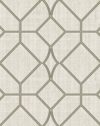 Washington Square Taupe Trellis Wallpaper by