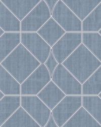 Washington Square Blue Trellis Wallpaper by