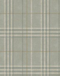 Rockefeller Sage Plaid Wallpaper by  Brewster Wallcovering