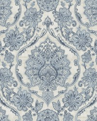 Carnegie Blue Damask Wallpaper by