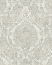 Carnegie Silver Damask Wallpaper by