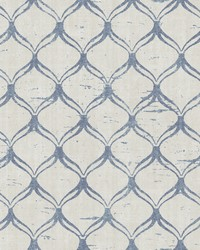 Bowery Blue Ogee Wallpaper by  Brewster Wallcovering
